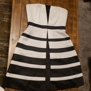 Striped Satin Strapless Dress